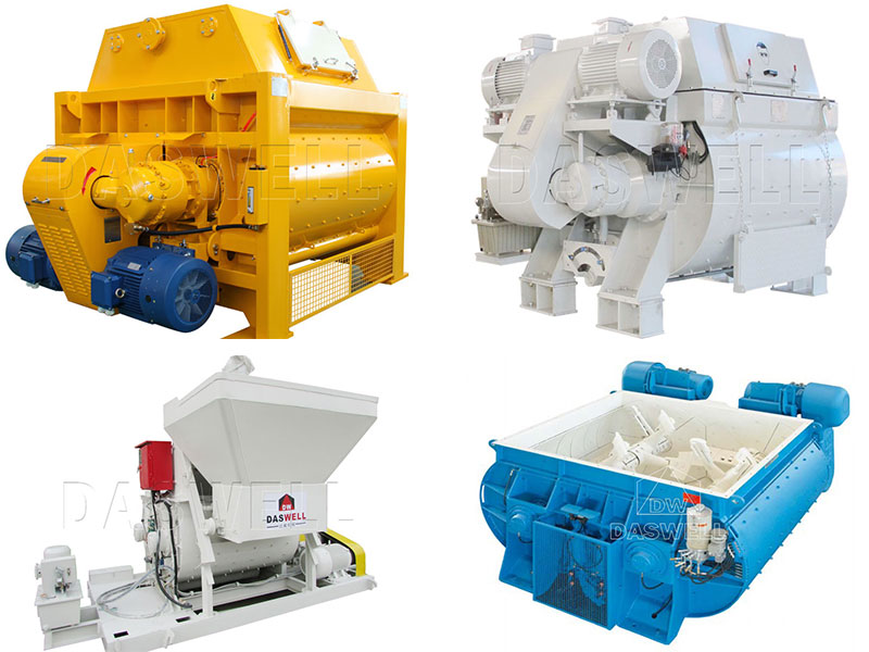 Various Types of Twin Shaft Concrete Mixer for Sale in Daswell