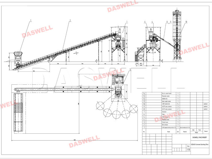 Belt Conveyor Concrete Batching Plant Design